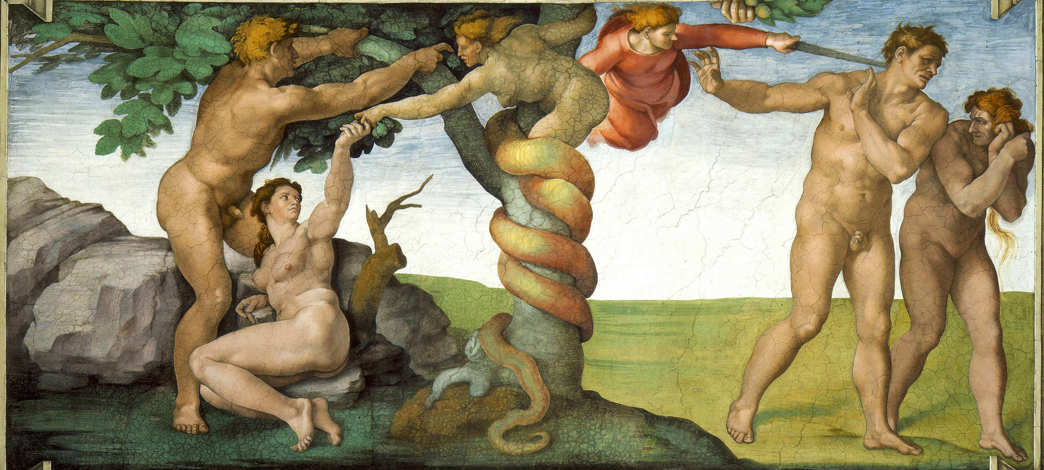 Temptation and Fall Michelangelo. From the Sistine Chapel Ceiling.